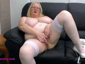 Huge boobs Sally in white lingerie what is there not to love