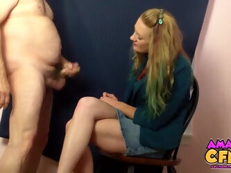 Dirty fat dude makes amateur Ruby Love stroke his small dick