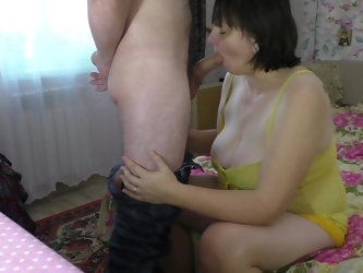 Mom loves a strong member of her son. Mom and son blowjob and anal sex in