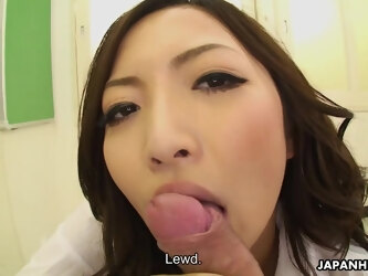 Sexy Japanese MILF teacher with a nice ass gives her student a hot blowjob