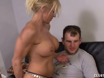 Fit mature blonde with fake tits loves to jerk off her neighbor