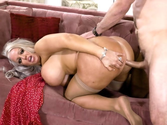 Mature pornstar Alura Jenson with enormous fake boobs having sex
