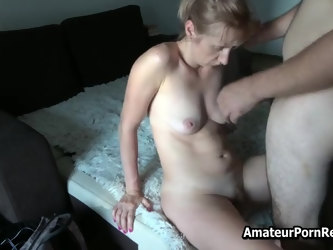 Dick Fucks My Amateur Mature Blonde Hairy Pussy