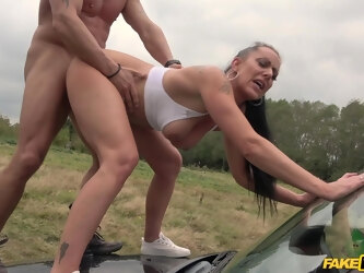 Mommy gets laid on the hood of the car and she loves it