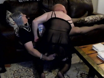 Sexy CDs sub slut Cami on her knees for Brenda's fat clitty