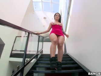 Horny MILF Katrina Jade drops on her knees to blow a black dick