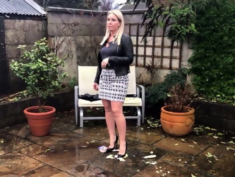 BLONDE TEACHER CRUSHES BANANA, SAUSAGE & YOGHURT IN HEELS