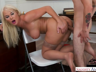 Voluptuous busty teacher London River is in the mood for dirty sex with young dude