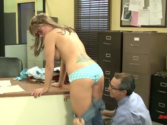 Nerdy assistant in glasses Andy turned to be very hot and insatiable