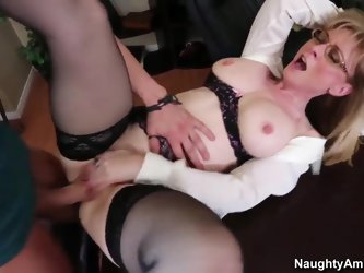 Mature blonde teacher Nina Hartley broke up with her husband yesterday. She is very hungry lady and can not live without fucking. Today her young stud