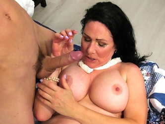 Mature lady fucks her stepson's friend while he's not at home