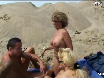 Two German Lesbian MILFs catch and join in MMF, Threesome Sex