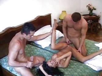 Italian husband watching wife and 2 guys