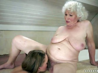 Granny Norma and young beauty Vicky Braun are lesbians that can't keep their tongues off each others pussies. Young babe gets tongue fucked befor