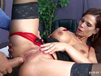 Red-haired milf Syren De Mer with big boobs and fuckable ass gets what she wants from Ramon. Milf in stockings spreads her legs after titjob and gets