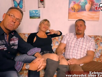 german normal housewife try first time threesome mmf at casting