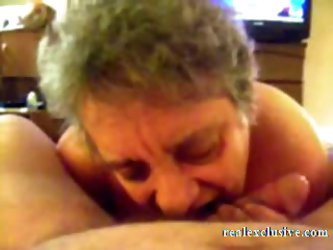 62 years Granny Sandra sucking cock of her love