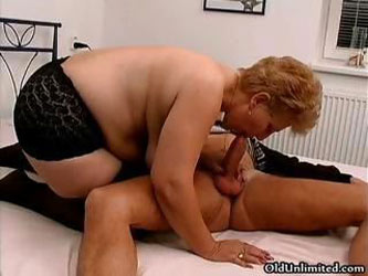 Fat old mom with big tits loves sucking part6