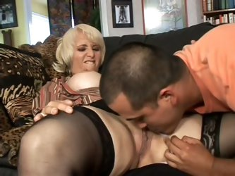 Sex obsessed blonde mom Sophie Mounds with wet pierced pussy seduces latino boy Deeldo Gomez into fucking. He eats her pierced mature pussy and she su