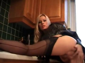 Incredible hot blonde milf in kitchen teases