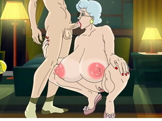 Granny gives very intense blowjob