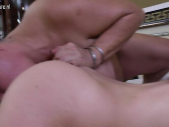 Three Naughty Old And Young Lesbians Go Wild On Bed - MatureNL