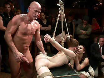 Sensi Pearl is the hot new thing in bondage porn. Tough, flexible, and sexy as hell, she is put through her paces at a live public disgrace event at t