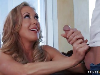 Brandi Love is a lonely milf that makes her sex fantasies a reality. She strokes guy's rock solid cock and gives head before she takes it in her
