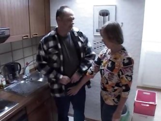 Old lady and daughter fucking guy in kitchen
