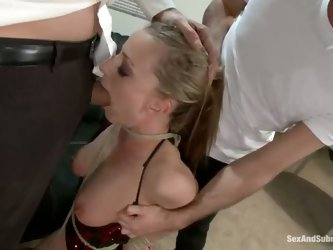 James finds out from his step dad that his soon to be wife is a whore. Denice K gets put in bondage and must endure rough sex and double penetration b