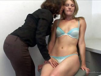 Melissa Monet and Samantha Ryan strip and get their magic lesbian sex session started in lingerie. Dark haired hot milf does her best to turn on attra