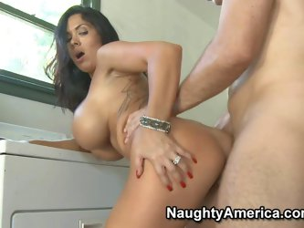 Sienna West is s passionate dark haired latina milf with bubble butt and huge tits. She gives mouth job to hot hard dicked guy before she takes his bo