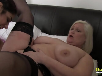 Busty british model enjoying lesbian threesome with pussy eating and deep fingering
