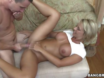 Busty and tanned sexy babe Brianna Beach enjoys in getting her shaved and tight pussy slammed really good on sofa in her bedroom by her turned on sexy