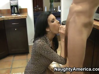 MILF Shay Sights sucking me off in the kitchen