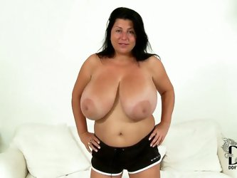 This Romanian brown-eyed beauty has amazingly huge natural tits, 36DDD to be exact, and it should come to nobody's surprise that she went straigh