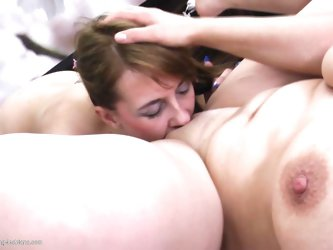 Young and old sluts are having great time together! Look how that young cutie eats the older and chubbier pussy in front of her with lust. She likes t