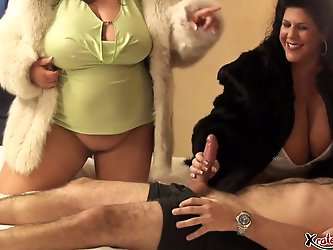Two fat chicks wearing Fur fucked in a threesome