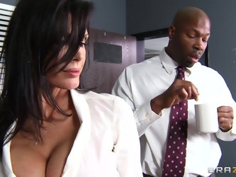 Office lady Shay Sights fucked by a large black penis on the table