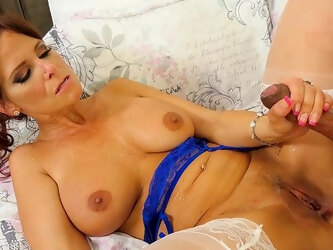 Hot mature mom rides her young step son like a rodeo girl