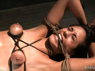 Tied tight and with her tits squeezed with rope, Lyla is at the complete disposal of her black executor and things are not loosing up for her. This bi
