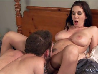 Fuck hungry cougar Rayveness with massive hooters spreads her legs in front of Wolf Hudson. Hot guy loves her mature body and can't keep his lips