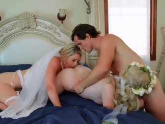 Lesbians mom gave the guy group debauchery and a lot of petting with o...