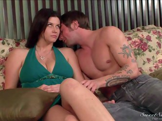 Sara Stone is a his charming stepmom. Woman with charming smile turns him on. She finds herself in bed with her stepson Joey Brass. They fondle each o