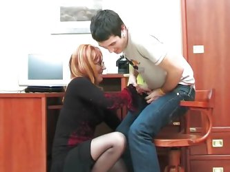 Russian MILF sucking stepson