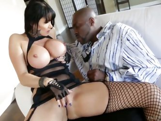 Long haired experienced milf Eva Karera with enormous stunning melons and pale juicy ass in fishnet stockings and kinky outfit teases filthy black bul
