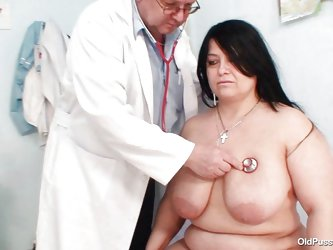 Chubby brunette Rosana went to doctor's to get her body checked up well. But there is this naughty pervert doctor who makes her naked and starts