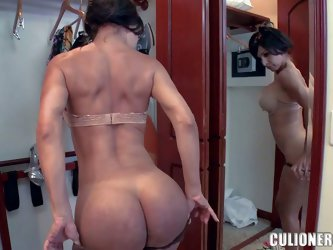 Brunette Isabel is a perfect bodied MILF with well shaped firm bubble ass and big fake boobs. She admires her amazing body in the mirror after taking