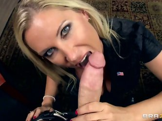 Experienced mature blonde milf Devon Lee with heavy make up and big juicy tits in arousing lingerie gets on her knees and gives mind blowing blowjob t