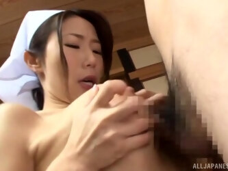 Amazing Japanese maid Ayumi Shinoda drops on her knees for 2 guys